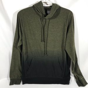 AEO Heather/Marled Green to Black Ombré Hoodie Sm